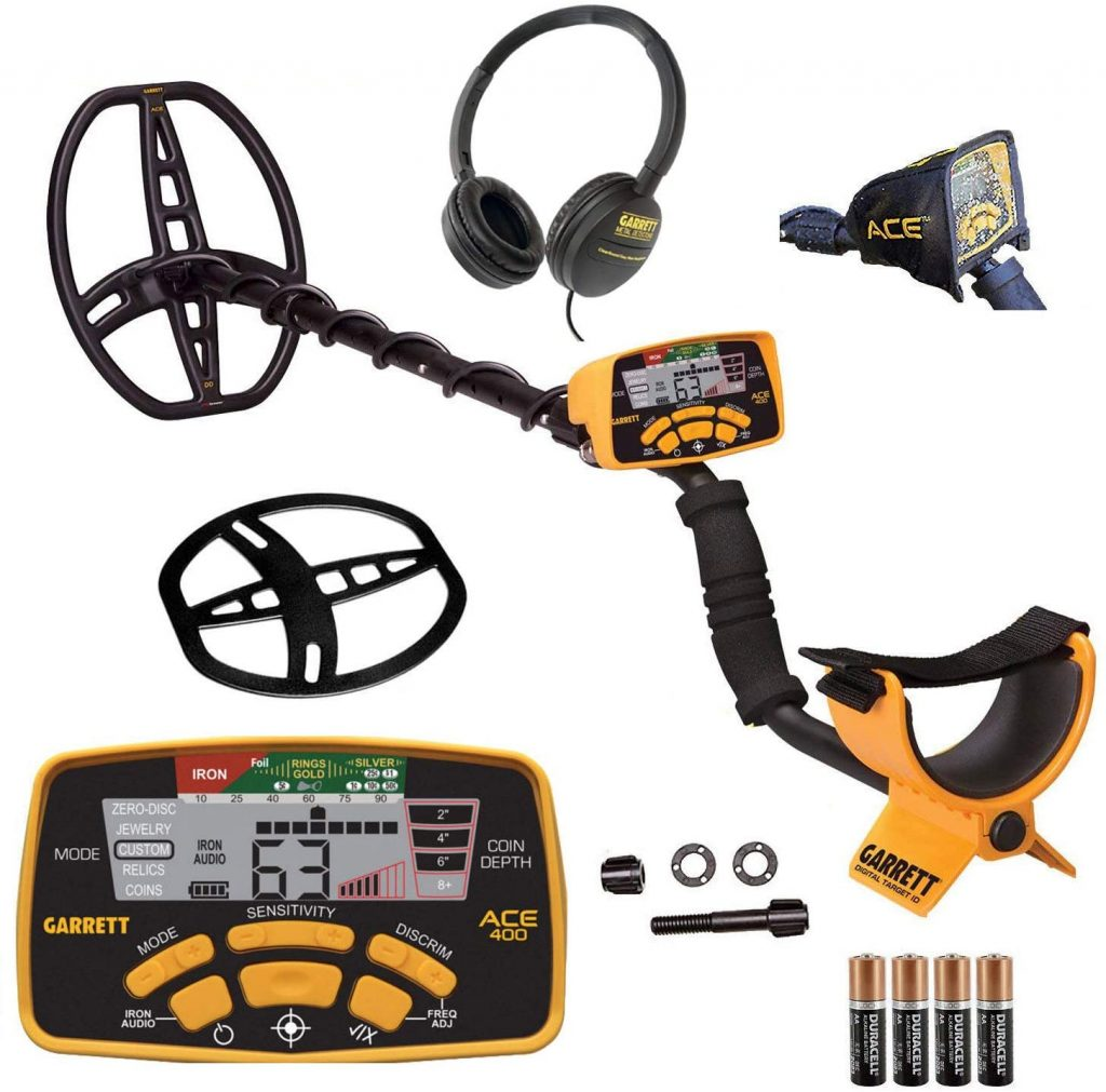 "Garrett Ace 400 Metal Detector with Waterproof Coil, Headphone,4 ""AA"" Batteries,Exclusive 2 Year Warranty, 5 Search Modes with low price."