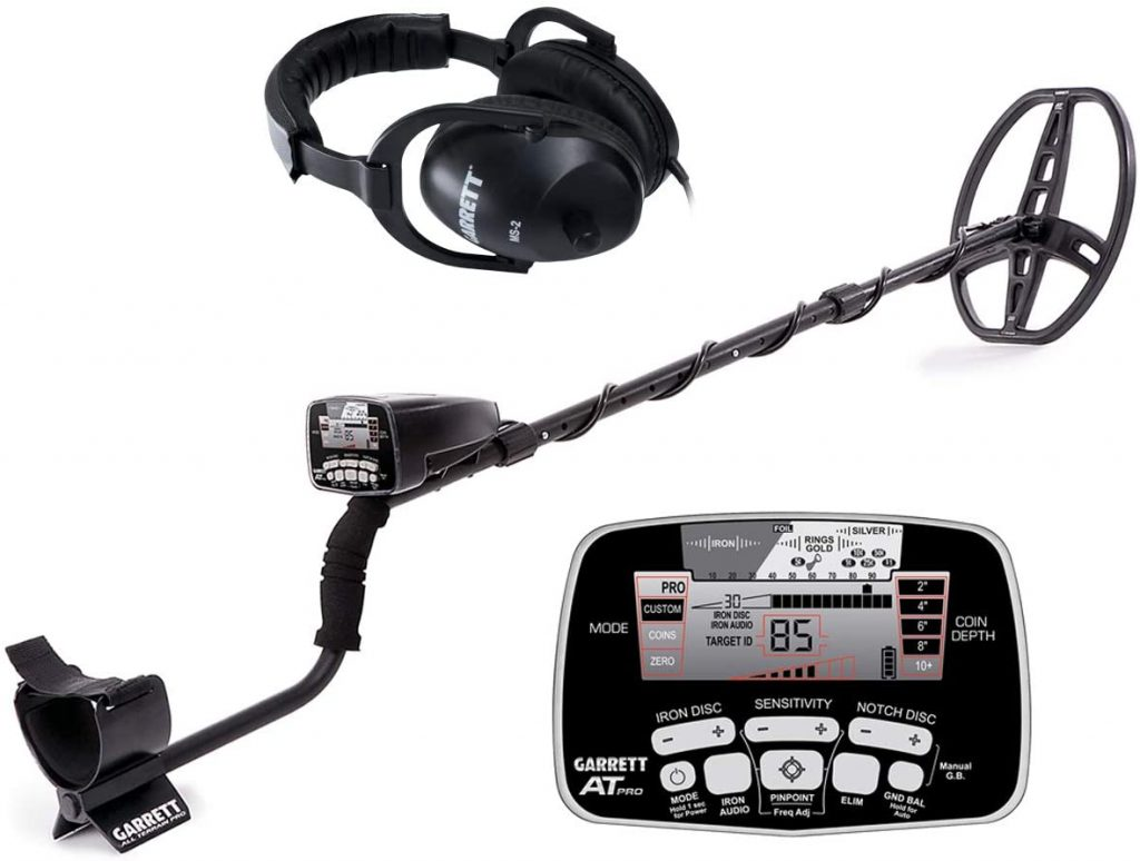 "Garrett AT Pro Metal Detector is a best underwater metal detector with 8.5"" x 11"" PROformance DD submersible searchcoil ,Premium volume-control land headphones with low cost."