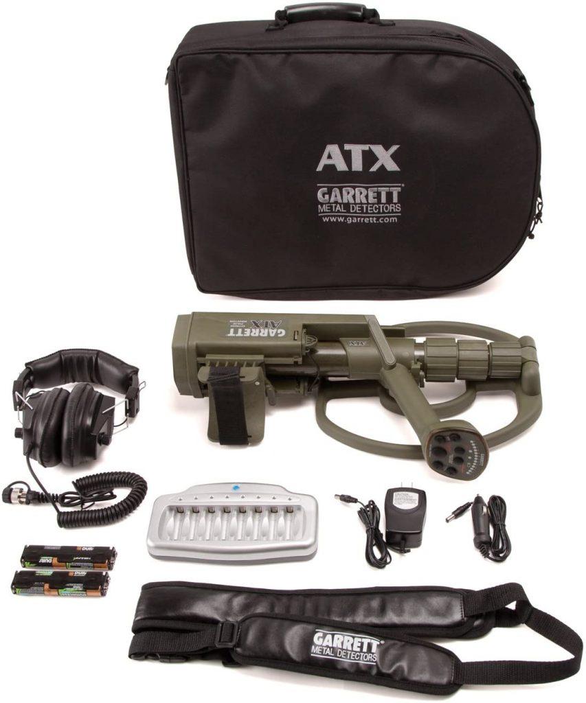 Garrett ATX is a best underwater metal detector with Land headphones, Soft storage/travel case and Garrett Detector Sling.
